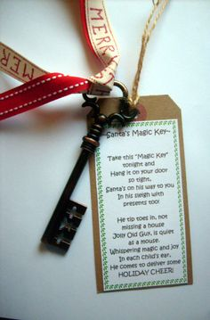 Santa's Magic Key-Vintage Metal Key (3 1/2 inches in length) Door Ornament or Tree Ornament on Etsy, $8.00