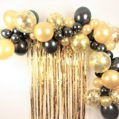 Gorgeous Black and Gold Balloon Garland Cloud Decoration Kit They are simply the accessory for any special occasion. You can use them in a variety o. Gorgeous Black and Gold Balloon Garland Cloud Decoration Kit They are simply the accessory for any s Black And Gold Party Decorations, Black Gold Party, Black And Gold Theme, Black And Gold Balloons, Gold Confetti Balloons, Gold Birthday Party, 30th Birthday Parties, Anniversary Parties, Birthday Ideas