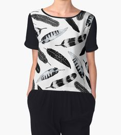 Frozen Feather by amayabrydon Black and White feather pattern design. @redbubble  Watercolor and digital feather design. Bohemian inspired Black and White pattern. #art #blackandwhite #feathers #feather #pattern #decor #home #living #design #minimal #abstract #bohostyle #bohemiandecor #fashion #chiffon