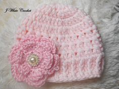Baby hat Soft Pink baby Hat Baby girl Beanie Baby by jwhitevintage
