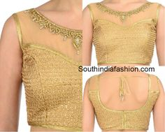 Boat Neck Gold Brocade Blouse photo