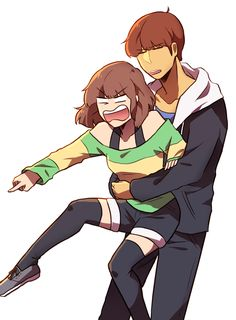 Frisk male and Chara Female (She seems rage at ???)
