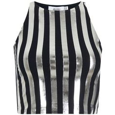 Bundy & Webster - Metallic Striped Tank Top (€29) ❤ liked on Polyvore featuring tops, crop top, shirts, metallic shirt, stripe top, striped shirt, metallic crop top and striped crop top
