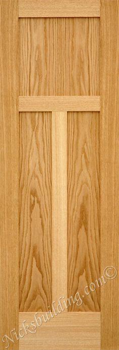 3 panel oak shaker style door-  bought at www.nicksbuilding.com #woodentrancedoors #rusticexteriordoors #exteriorhousedoors 3 Panel Interior Doors, Shaker Interior Doors, Shaker Doors, Oak Doors, Wooden Doors, Oak Panels, Indoor Doors, Shaker Style, Room Closet