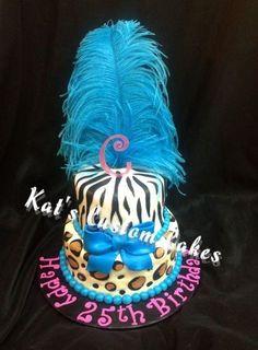 Blue zebra stripe cake