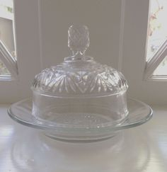 Clear Pressed Glass Covered Cheese Candy Nuts Butter Dish With Dome Lid