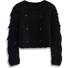 Chicwish Retro Cozy Up Woolen Sweater in Black featuring polyvore fashion clothing tops sweaters black cable knit sweater black wool sweater black top cropped cable knit sweater cableknit sweater