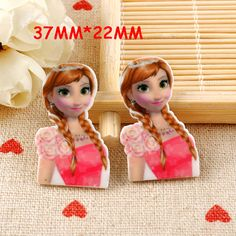 50pcs/lot 37*22MM Kawaii Cartoon Princess Anna Flatback Resin Planar DIY Craft Resina For Home Decoration Accessories DL-154