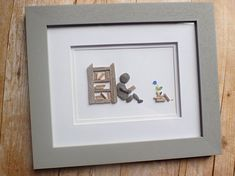 Original pebble art picture / Original sea glass art picture /