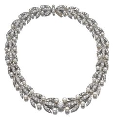 Natural pearl and diamond necklace, French, late 19th Century