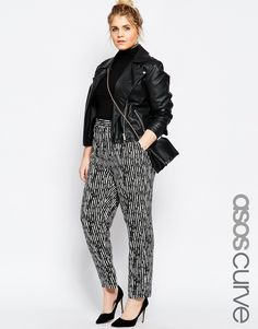 Image 1 of ASOS CURVE Woven Tapered Peg Trouser In Mono Stripe Print