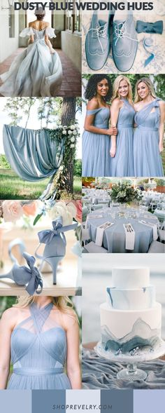 TREND ALERT: Dusty Blue Mix up! Ombre hues out of order to create a complex but still uniform bridesmaid and wedding theme. Keep it uniform with varying shades of lighter and darker dusty blue featuring tones of grey and greenery. Keep it light and fresh. Bridesmaid's can wear Revelry's Convertible Tulle Rosalie Bridesmaid gown. It can be styled 20 plus ways to create a unique and specific look to fit any wedding theme. From boho, to country, or modern this dress covers all the bases.