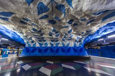 From a fake underground grotto to giant bronze tulips, murals making statements on ecology to work by 'the Swedish Banksy', Stockholm's metro stations are full of surprises. All photographs by Luis Rodriguez