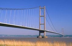 A search has been launched to track down the 'Humber Monster,' a sea beast said to have a head the size of an elephant, six humps and terrifying flashing eyes. Pictured, the Humber Bridge over the River Humber near Hull