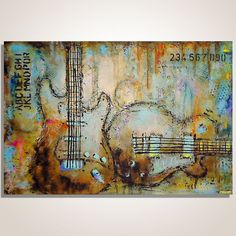 Guitar painting Music painting  Musician gift by MagierFineArt, $275.00