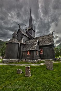 "Borgund Stavkirke, Norway, by Kurt Muetterties | angioman1: Built sometime 1180-1250 CE (12thcentury). Its walls are vertical wooden boards, or staves, hence the name ""stave church"" (stavkirke). Several runic inscriptions are found on the walls of the church. One reads: ""Tor wrote these runes in the evening at the St. Olav's Mass"", and another reads ""Ave Maria"". These can be found at the west portal of the church. [Please keep photo credit and original link if r"