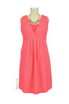 Spring Maternity Caron Retro Nursing Dress in Coral. Please use coupon code NewProducts to receive 15% off these items. To receive the discount, please place your order by midnight Monday, March 16, 2015
