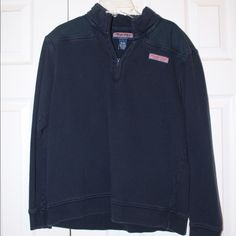 Vineyard Vines Shep Shirt Pullover Navy vineyard vines Shep shirt! I bought it in a kids XL but it fits just like an adult small, so if you're looking for adult small this should fit the same. If you have any questions about the sizing let me know! There is writing in the tag on the inside, but it's mostly faded away. Vineyard Vines Tops Sweatshirts & Hoodies