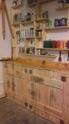 Pallets Cabinets. The top is fiberglassed with resin and mesh... Shelving made from Pallets as well.   Acrylicmind.com