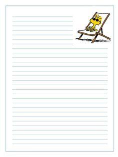 Imprimir gratis papel de cartas infantil para niños  de personajes de Snoopy