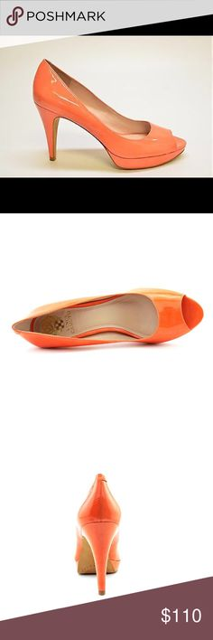 """Vince Camuto Orange Patent Leather Sz 8.5 Elegant height to a timelessly shaped pump lacquered in patent leather. This Pump by Vince Camuto has a classic and feminine design. Extremely comfortable and will take you from day to a night out in town! Perfect for those looking for a confident and chic pop of color. Patent Leather - Italian designed  Synthetic sole Heel measures approximately 3.75"""" Platform measures approximately 0.5"""" Peep toe front; Elegant lines VC logo crest on bottom and…"""
