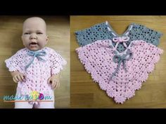 Twisty Elise Newborn Poncho (+All Sizes) - Crochet Tutorial - English Crochet Baby Poncho, Crochet Baby Dress Pattern, Crochet Poncho Patterns, Crochet Bebe, Crochet Baby Clothes, Crochet Shawl, Baby Patterns, Baby Shower Souvenirs, Knitting For Kids