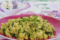 Quinoa con calabacín y albahaca - receta vegana