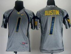 Kids NEW West Virginia Mountaineers 1 Tavon Austin Grey College Football NCAA Jerseys