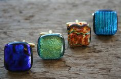These glass cufflinks are a great way to add some color to a guy's #wedding day look.