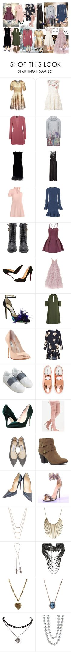 """""""Fantastic Beast & Where to Find Them - Premiere"""" by bileyuna ❤ liked on Polyvore featuring Matthew Williamson, RED Valentino, Reformation, Twister, Topshop, Exclusive for Intermix, Chi Chi, Christian Louboutin, Monique Lhuillier and Jimmy Choo"""