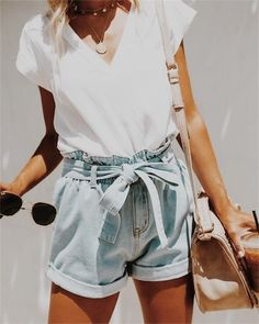 Denim high waisted shorts + white tee.