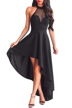 Black Sheer Mesh Decolletage Backless Hi-low Party Dress #partydress #hilow #black #dresses