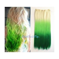 White Blonde to Green Three Colors Ombre Hair Extension Synthetic Clip... ($10) ❤ liked on Polyvore featuring beauty products, haircare, hair styling tools, bath & beauty, grey, hair care and hair extensions