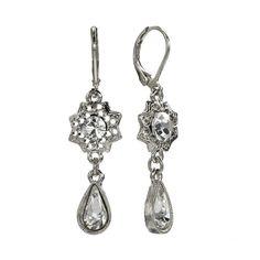 1928 Silver Tone Crystal Flower Drop Earrings, Women's, Grey