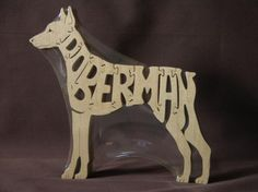 Doberman Wooden Dog Toy Puzzle Hand Cut With Scroll Saw