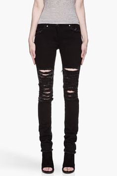 CHRISTOPHER KANE Black shredded and Frayed Jeans Christopher Kane