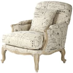 Attention book lovers and Francophiles - the perfect city club chair has arrived. Upholstered in a unique French literary and newsprint linen, this beauty is urbane, witty and delightfully entertaining - the perfect addition to your book club!