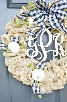 "Create this gorgeous ""white"" burlap wreath for your front door! This wreath can easily be embellished with seasonal decor. #wreath #burlap #burlapwreath #burlapwreathtutorial #burlapwreathdiy #burlapwreathideas #howtomakeaburlapwreath #stepbystepburlapwreath #easyburlapwreathdiy #craft #homedecordiy #frontdoor #fallwreath #stonegable"