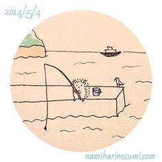 海釣り。#ハリネズミ 137    sea fishing  #hedgehog #illustration #drawing #イラスト #ペン画