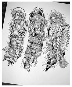 Hades Tattoo, Zeus Tattoo, Poseidon Tattoo, Poseidon Drawing, Thor Tattoo, Half Sleeve Tattoos Drawings, Half Sleeve Tattoos Designs, Full Sleeve Tattoos, Full Sleeve Tattoo Design