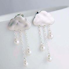 Rain Clouds Post Earrings Silver plated Clouds by whimsyandmagic, $24.00. So cute! Everything in this shop is cute!