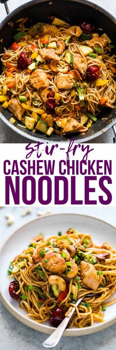 Chinese Cashew Chicken Noodles Stir-Fry is a delicious, easy take on your favourite take-out cashew chicken recipe. Crispy bits of chicken and noodles are tossed in a super flavourful, spicy sauce and roasted cashews for a meal that the whole family will love! via @my_foodstory