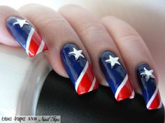 July 4 Nail Design | 4th of July is here again! So it's time for a nail design to celebrate ...