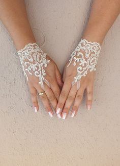cream yellow lace glove gloves free ship cuff by WEDDINGHome, $25.00
