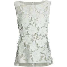 NICOLE FARHI Laser Cut Flower Top ($790) ❤ liked on Polyvore featuring tops, shirts, blouses, tank tops, shoes, sleeveless shirts, white mesh top, flower top, sleeveless tops and white flower shirt