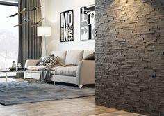 foorni.pl | KAMIEŃ NATURALNY NERO, kamienna ściana w salonie,  producent: Stegu