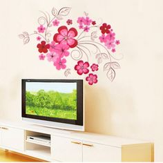 removable wall art flowers pink red - Google Search