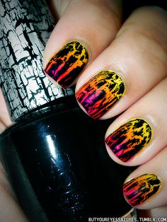 just take pink, orange, and yellow and mix them then take and put black crackle nail polish over them and you have sunset nails Fancy Nails, Love Nails, Diy Nails, Pretty Nails, Color Nails, Neon Nails, Sunset Nails, Sunset Gradient, Crackle Nails