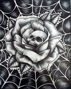 Roses are red the web is blue and this here skull is looking at you! Skull Tattoo Design, Skull Tattoos, Rose Tattoos, Body Art Tattoos, Sleeve Tattoos, Tattoo Designs, Chicano Art Tattoos, Skull Design, Chicanas Tattoo