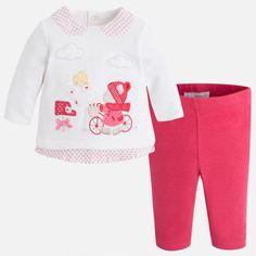 Mayoral Kız Bebek Kışlık Örme Uzun Kol T-shirt Tayt Set Koyu Pembe